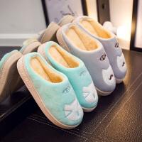 【春节特惠 一件五折】拖鞋 女士包跟保暖居家室内可爱卡通棉鞋冬季新款韩版女式时尚休闲舒适家居鞋