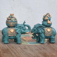 结婚礼物欧式陶瓷大象家居酒柜装饰品客厅电视柜新房卧室象摆件 陶瓷大象