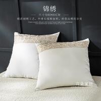 简约欧式长绒棉绣花床头大靠垫全棉靠垫套60*60一对定制 60X60 枕套+羽丝棉芯1对
