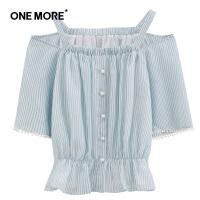 【裸价直降】ONE MORE2019夏季新款蓝色条纹吊带露肩收腰短袖短款休