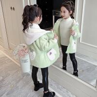 韩版中长款加绒加厚大衣潮2019秋冬季新款洋气童装女童冬装外套