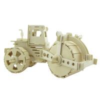 早教木质3d立体拼图模型汽车工程车儿童diy手工拼装玩具