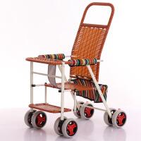 【好货】夏季竹藤推车超轻便折叠婴儿藤椅小推车仿藤编儿童