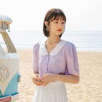 茵曼娃娃领衬衫女2021年夏季新款甜美泡泡袖宽松休闲法式棉麻上衣【1812704】
