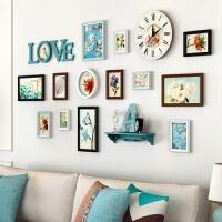 地中海照片墙组合实木相框墙创意组合客厅相框油画装饰画客厅相册墙贴画框照片墙相框组合