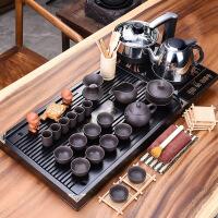 2019新品整套功夫紫砂茶具套装家用办公茶杯电器茶台茶道配件实木茶盘 29件