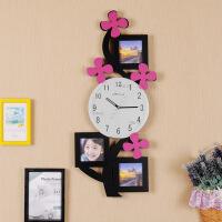 挂钟 客厅静音相框时尚创意卧室儿童房艺术挂表 个性时钟墙钟 小花朵相框 - 黑色 14英寸(直径35.5厘米)