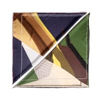 旅途系列罗托鲁阿印花真丝缎面小方巾简约抽象