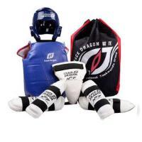儿童加厚跆拳道护具全套五件套头盔武术搏击粘扣式蓝色