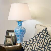 美式 陶瓷台灯卧室简约客厅法式床头台灯奢华温馨艺术全铜台灯