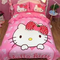 全棉凯蒂猫四件套女孩公主风粉色KT猫纯棉三件套卡通儿童床品可爱定制 巧克力色 甜心粉