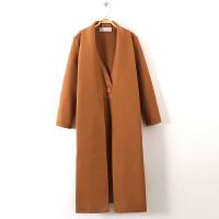 围巾领加长款呢大衣女冬季宽松仿双面尼气质毛呢外套风衣G8E471 均码