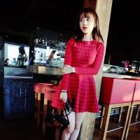 2018新款秋冬女装修身显瘦气质长袖针织连衣裙蓬蓬打底复古小红裙