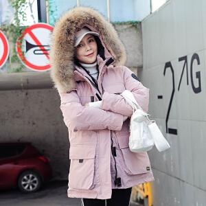 实拍2018新款棉服 户外防寒服男女同款加厚连帽真毛领棉服外套