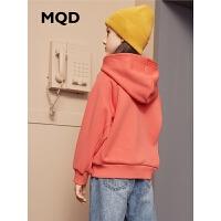 MQD童装女童加绒卫衣2019冬季新款儿童加厚保暖连帽字母印花卫衣