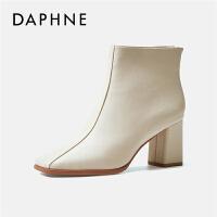 Daphne/达芙妮高跟短靴女2019新款秋冬百搭黑色增高粗跟时装靴---