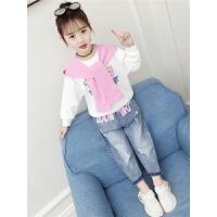 2019新款韩版儿童时尚卫衣两件套女童秋装洋气童装套装