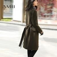 【1件7折/2件5折 再用券】AMII[极简主义]冬装羊毛修身纯色加厚毛呢子外套女中长款大衣