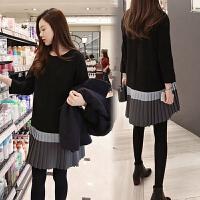小香风连衣裙女秋冬季法式复古打底收腰桔梗仙女温柔裙子 黑色