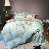纯色天丝四件套80支简约素色春夏刺绣双拼夏季裸睡床上用品1.8m床