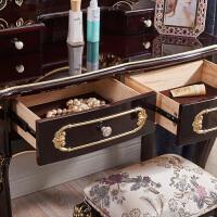 欧式新古典色家具 欧式梳妆台卧室公主化妆台凳子化妆柜 梳妆台+妆凳 组装