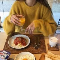 2019春季季韩国新款百搭圆领长袖仿貂绒毛衣女宽松显瘦套头针织衫