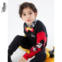 迪士尼儿童圆领毛衫2020新款秋冬洋气童装男童女童宝宝针织毛衣潮