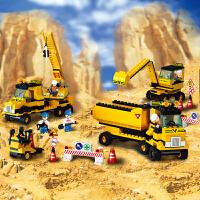 快乐小鲁班拼装积木男孩拼插挖掘机玩具模型工程车类儿童5-0岁抖音