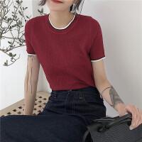 女学生短袖上衣夏季韩国撞色显瘦T恤打底衫套头圆领短款针织衫