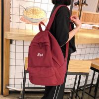 古着感书包女高中森系校园双肩包ins学生简约百搭大容量背包
