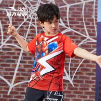 【券后价159】【蜘蛛侠联名】安踏儿童装男童短袖T恤2021夏新品时尚凉感大童短t352137146