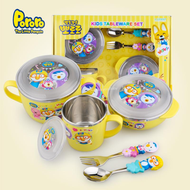 保温碗儿童宝宝不锈钢餐具饭碗杯勺叉子套装礼盒yw wk-175 小企鹅餐具五件套礼盒