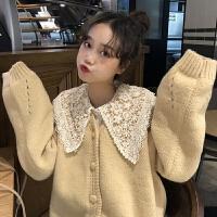网红晚秋两件套秋冬韩版宽松蕾丝娃娃领衬衫开衫毛衣外套套装女潮 均码