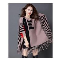 秋冬季新款流苏针织衫斗篷披肩蝙蝠袖外套中长款套头毛衣女装