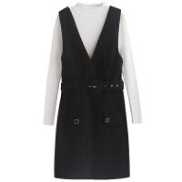 连衣裙套装女秋冬新韩版针织打底衫开叉毛呢背带裙两件套裙子