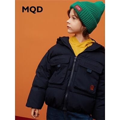 【1件3折:300】MQD童装男童羽绒服2019冬新款儿童90白鸭绒工装短款连帽外套韩版