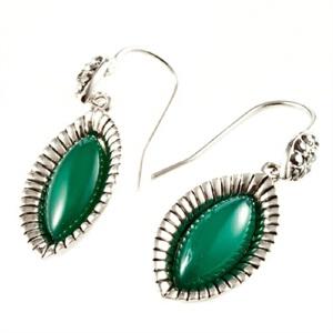梦克拉 绿玛瑙耳环银镶嵌复古S925银长款 绿眸 可礼品卡购买
