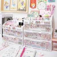 ins桌面收纳盒化妆品学生办公室文具胶带少女心抽屉式书桌置物架