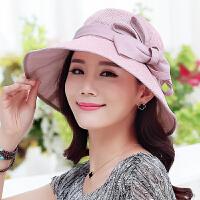 帽子女夏天遮阳帽大沿帽可折叠夏季蝴蝶结防晒帽春太阳帽