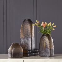 现代家居简约客厅摆件艺术纯色料鱼鳞纹玻璃花瓶美式插花干花水培