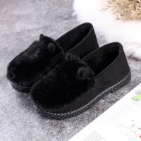 冬季新款毛毛鞋软底加绒豆豆鞋女平底老北京布鞋女棉鞋休闲保暖鞋