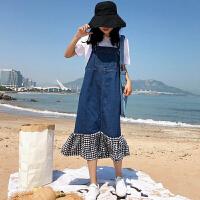 三木子快时尚女装~牛仔背带裙女韩版学生连衣裙中长款吊带裙子