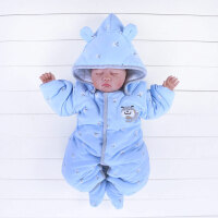 婴儿连体衣婴儿秋冬装连体衣服3个月小狗6加厚夹棉衣男宝宝9新生儿冬季哈衣0XM-7 蓝色