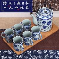 【优选】景德镇陶瓷茶壶大容量复古青花冷水壶套装家用大号提梁壶茶具