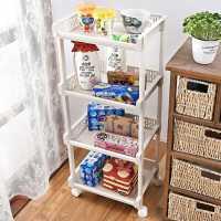 卧室多层置物架落地带轮可移动书架杂物零食收纳架家用客厅储物架
