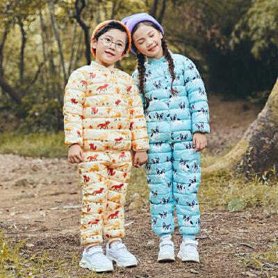 新款童装儿童羽绒男童女童棉衣婴儿冬季宝宝小童内胆两件套装