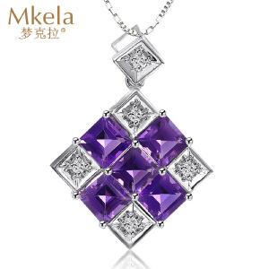 梦克拉 18K金紫水晶吊坠 紫色星盘 项链吊坠  可礼品卡购买