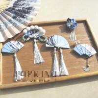 手工日式和风浮世绘海浪流苏扇子细工花簪和服发夹头饰品