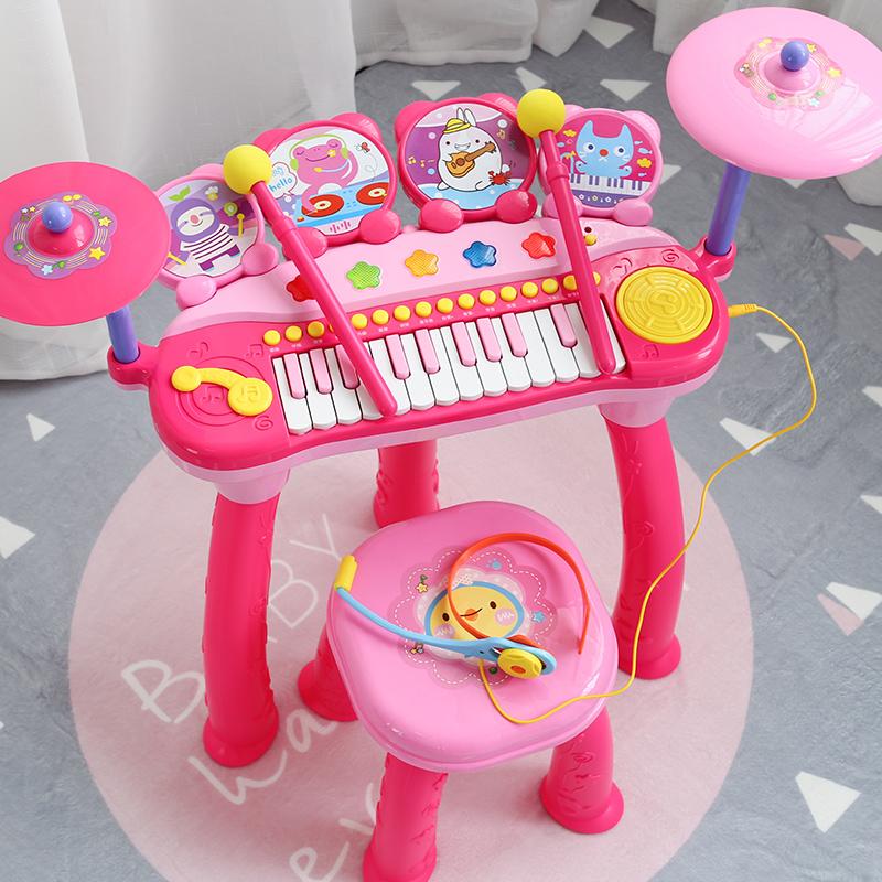 儿童电子琴架子鼓宝宝小孩玩具初学钢琴女孩玩具1-3-6-12岁 粉色 定制类产品请联系客服后再下单,私自下单本店有权,谢谢您的配合!