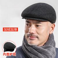 中老年人帽子男冬天鸭舌帽羊毛呢保暖老人帽秋冬季护耳老头前进帽